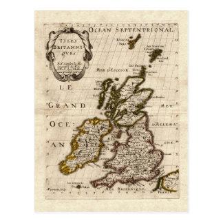 Ilhas Britanniques - mapa 1700 de Nicolas Fils Cartão Postal