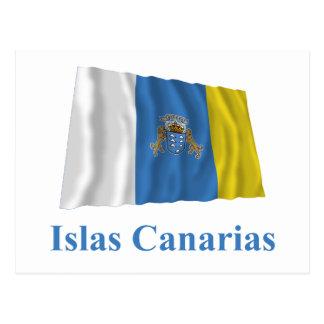 Ilhas Canárias que acenam a bandeira com nome no e Cartao Postal