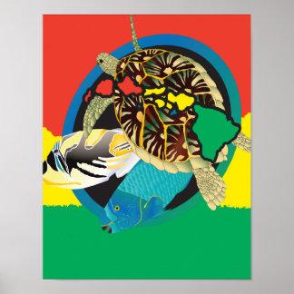 Ilhas de Havaí da tartaruga da reggae de Havaí Poster