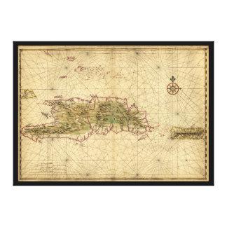 Ilhas do mapa de Hispaniola e de Puerto Rico Impressão Em Tela