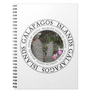 Ilhas Galápagos que florescem o caderno do cacto