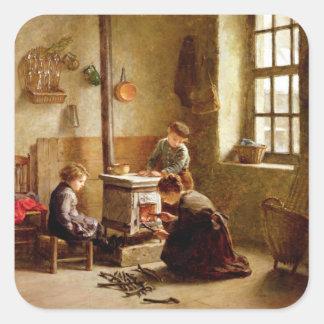 Iluminando o fogão, 1886 (óleo no painel) adesivo em forma quadrada