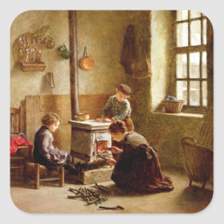 Iluminando o fogão, 1886 (óleo no painel) adesivo quadrado