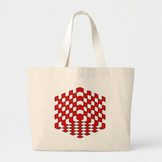 ilusão óptica do cubo 3D vermelho Bolsa Para Compras