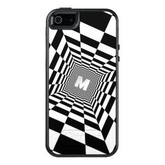 Ilusão óptica preta & branca, monograma branco