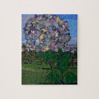 Ilusão óptica:  Uma flor cresce no parque de Quebra-cabeças