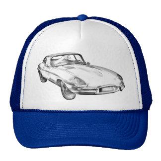 Ilustração 1964 antiga do carro de esportes de bonés