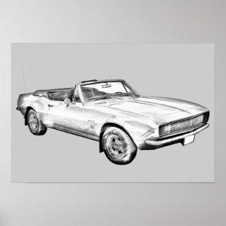 Ilustração 1967 do carro do músculo de Camaro Posters