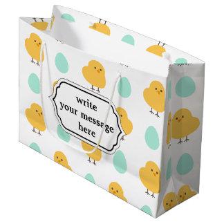 Ilustração amarela bonito engraçada da páscoa do sacola para presentes grande