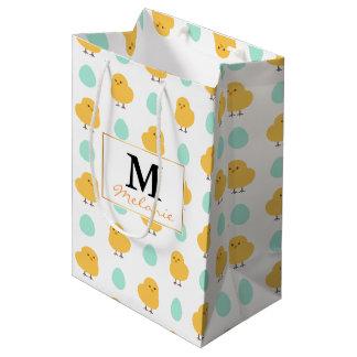 Ilustração amarela bonito engraçada da páscoa do sacola para presentes média