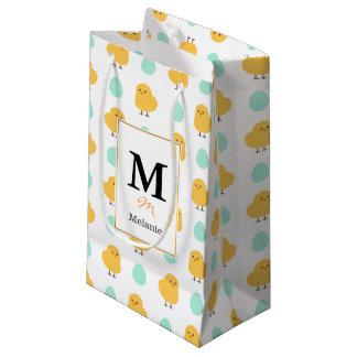 Ilustração amarela bonito engraçada da páscoa do sacola para presentes pequena