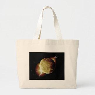 ilustração amarela do planeta 3d no universo bolsa tote grande