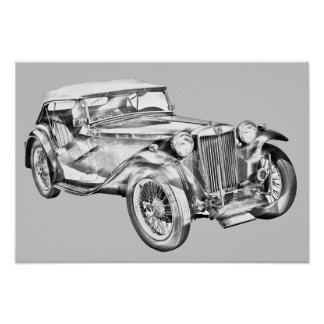 Ilustração antiga do carro de esportes do magnésio impressão