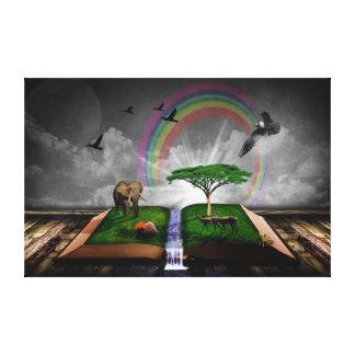 Ilustração artística da fantasia do livro da impressão em tela canvas