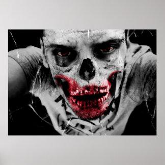 Ilustração artística do retrato do zombi pôster