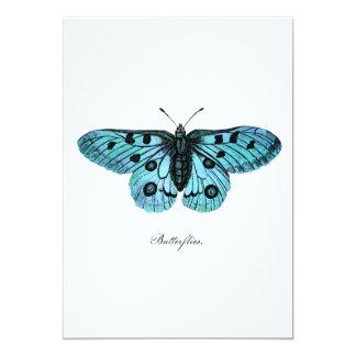 Ilustração azul da borboleta da cerceta do vintage convite 12.7 x 17.78cm