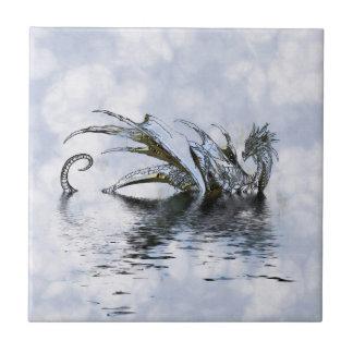 Ilustração azul do dragão nas nuvens e na água