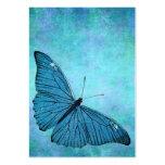 Ilustração azul dos 1800s da borboleta da cerceta  modelo cartões de visitas