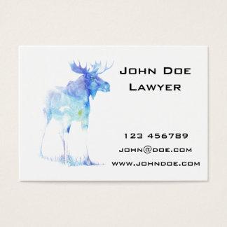 Ilustração azul dos alces da aguarela cartão de visitas