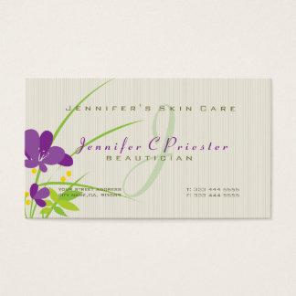 Ilustração bege e verde roxa da flor cartão de visitas