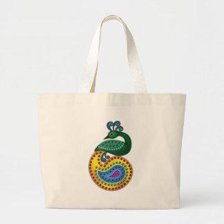 Ilustração bonita e colorida do pavão sacola tote jumbo