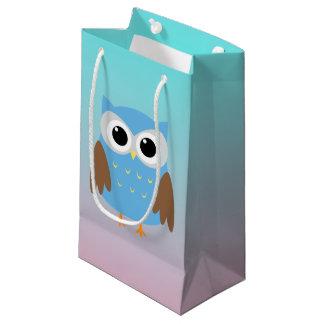 Ilustração bonito da coruja sacola para presentes pequena