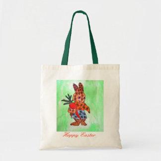 Ilustração bonito do coelhinho da Páscoa com Sacola Tote Budget