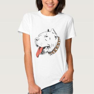 Ilustração branca da animação do cão do pitbull t-shirt
