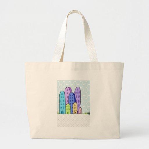 ilustração cidade infantil bolsas para compras