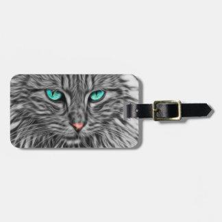 Ilustração cinzenta do gato do Fractal Etiqueta De Bagagem