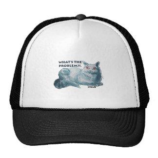 ilustração cinzenta legal do gato com texto boné