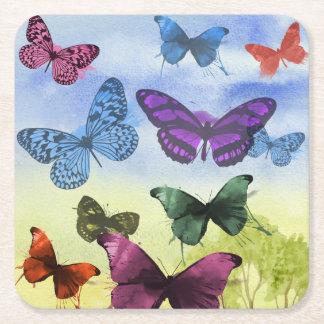 Ilustração colorida das borboletas da aguarela porta-copo quadrado
