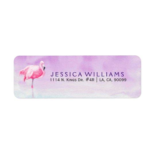 Ilustração cor-de-rosa bonito das aguarelas do etiqueta endereço de retorno