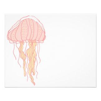 Ilustração cor-de-rosa coral das medusa flyer 11.43 x 14.22cm