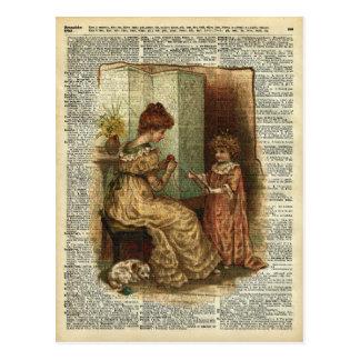 Ilustração crocheting do livro infantil cartão postal
