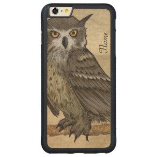 Ilustração da coruja capa bumper para iPhone 6 plus de carvalho, carved