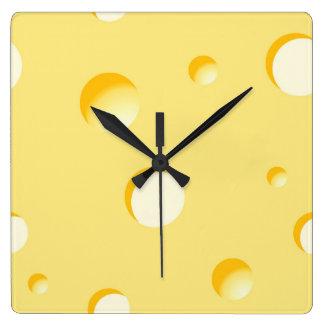 Ilustração da fatia do queijo relógio quadrado