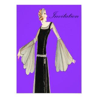 ilustração da forma das senhoras dos anos 20 convite personalizados