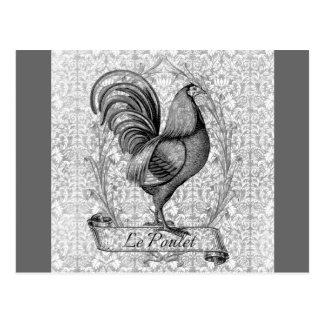Ilustração da galinha do vintage cartão postal