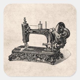 Ilustração da máquina de costura dos 1800s do adesivo em forma quadrada