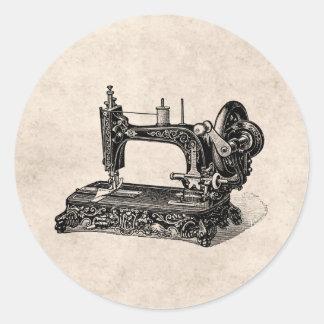 Ilustração da máquina de costura dos 1800s do adesivos em formato redondos