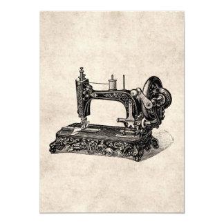 Ilustração da máquina de costura dos 1800s do convite 12.7 x 17.78cm