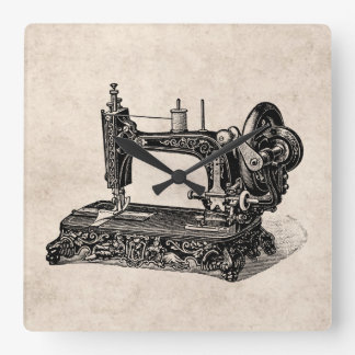Ilustração da máquina de costura dos 1800s do relógio para parede