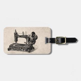 Ilustração da máquina de costura dos 1800s do tag de bagagem