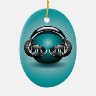 ilustração da música com auscultadores ornamento de cerâmica oval
