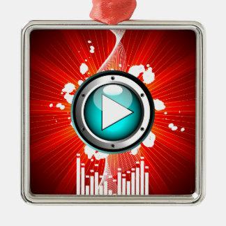 ilustração da música com botão do jogo ornamento quadrado cor prata
