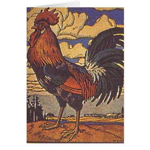 Ilustração da pintura da galinha do galo da fazend cartoes