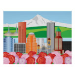 Ilustração da skyline de Portland Oregon Posters