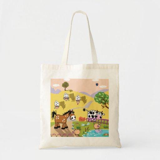 ilustração das crianças bolsa para compras