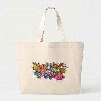 Ilustração das flores, saco dos desenhos animados sacola tote jumbo
